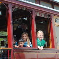 Kids on trolley
