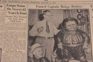 Dick Meade, new owner of Captain Briggs, and Julius Krieg, a former city councilman, who helped carve the statue with his father in 1872 (<em><p class=