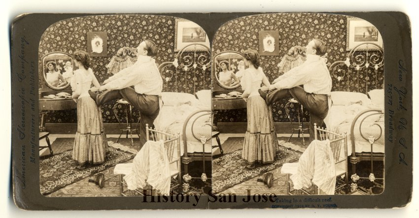 Tightening a corset stereograph